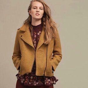 Anthropologie Cartonier Wool Bucle Moto Jacket L